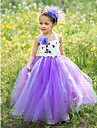 Ball Gown Floor-length Flower Girl Dress - Silk / Tulle Sleeveless