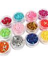12 Färg ihåliga femuddig stjärna Glitter Nail Art Dekorationer