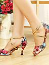 Kvinnors Floral Print Satin Upper Cross Ankel Latin Dansskor Sandaler Fler färger