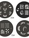 1 Pièce M Series arrondi Conception abstraite Nail Art Stamp estamper Image de plaque No.77-80 (modèle assorties)