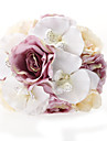 Fascinating Round Satin Rose Moth Orchid  Wedding Bouquet