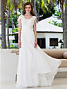 Lan Ting A-line Plus Sizes Wedding Dress - Ivory Sweep/Brush Train V-neck Georgette