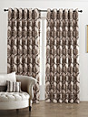 Country Two Panels Floral  Botanical Chocolate Bedroom Polyester Panel Curtains Drapes