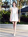 A-line Plus Sizes Wedding Dress - Ivory Short/Mini V-neck Nylon Taffeta