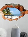 3D Wall Stickers Beautiful Summer Beach PVC Washable Wall Decals
