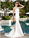 Lanting Bride® Trumpet / Mermaid Petite / Plus Sizes Wedding Dress Simply Sublime Sweep / Brush Train Scoop Satin / Tulle with