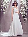 LAN TING BRIDE A-Linie Hochzeitskleid Hof Schleppe V-Ausschnitt Chiffon mit