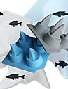 shark is mögel silikon isbitar bricka pudding gelé mögel 4x4x2inch (slumpvis färg)