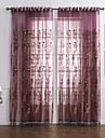 Neoclassical Two Panels Floral  Botanical Red Bedroom Polyester Sheer Curtains Shades