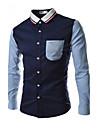 Jogal 3D style coreen Contraste Mode shirt de couleur collier manches longues Silm shirts