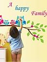 Createforlife ® hiboux famille de bande dessinee pour enfants autocollant de piece de creche mur Wall Art Stickers