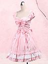 Une Piece/Robes Doux Princesse Cosplay Vetrements Lolita Incanardin Noeud papillon Manches courtes Moyen Robe Pour Femme Coton