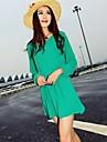Runde Chiffon- Minikleid der Frauen mit Gurt