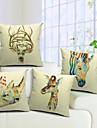 4 pcs Coton/Lin Housse de coussin,Imprime animal Rustique
