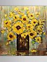 pittura a olio dipinta a mano astratto floreale giallo vaso di fiori con telaio allungato