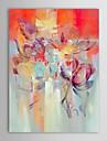 iarts®hand målad oljemålning abstrakt röd blomma med sträckt ram