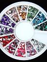 600st 12colours fjäril form akryl strass hjul nail art dekoration