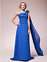 A-line Plus Sizes / Petite Mother of the Bride Dress - Royal Blue Sweep/Brush Train / Watteau Train Sleeveless Chiffon
