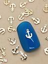 200st båt ankare gyllene metall skiva nail art dekoration