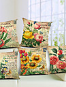set om 5 land blommande blommor bomull / linne dekorativa örngott