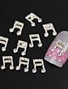 10pcs strass note de musique 3d accessoires bricolage alliage de bijoux nail art decoration