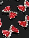 10st röd rosett strass legering tillbehör för fingertopparna nail art dekoration