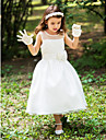 A-line Tea-length Flower Girl Dress - Silk Scoop with Sash / Ribbon