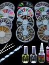 18PCS Samll Wheel Box Sticker Decoration & Gel Remover liquid Nail Art Set