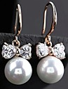 Women's Fashion High Grade Roundness Bowknot Pearl Earrings
