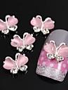 10pcs papillon avec de la pierre de l\'oeil alliage ongle 3d art de la decoration rose chat volant