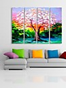 Stretched Canvas Art  Oil Painting Style Color Tree Set of 4