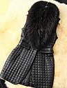 Women Faux Fur Outerwear , Belt Not Included