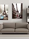 Stretched Canvas Art Landscape Eiffel Tower Romance Set of 2
