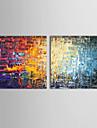 iarts®oil peintures modernes lot de 2 briques de couleur abstraite toile pret a accrocher peints a la main