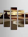 Peint a la main Paysages Abstraits Panoramique Verticale,Moderne Cinq Panneaux Toile Peinture a l\'huile Hang-peint For Decoration
