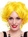 chica energica fibra sintetica amarilla fiesta de halloween peluca los 30cm de las mujeres