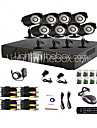 8 Channel Home and Office CCTV DVR System(P2P Online,8 Outdoor Camera)