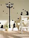 zooyoo® gullig färgrik djur pvc avtagbar katt i natten av väggdekorationer heta säljande väggdekaler för heminredning