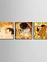 Gergin Kanvas Anne ve Oğul ve 3 Klimt Set tarafından Öpücük