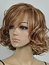 kvinnors brunt och blont blandade lockig peruk kort