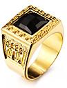 Inele Afirmatoare Piatră Preţioasă Negru natural Iubire Personalizat Teak Teracotă Placat Auriu 18K de aur Square Shape Geometric Shape