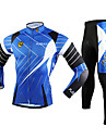 FJQXZ Men\'s Long Sleeve Cycling Jersey + Tights 3D Slim Cut Breathable Cycling Suit - Black + Blue