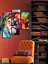 Sträckt Canvastryck Art Animal Lion Set av 4
