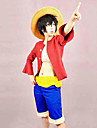 Inspire par One Piece Monkey D. Luffy Anime Costumes de cosplay Costumes Cosplay Mosaique Rouge Manches mi-longues Top / Shorts / Ceinture
