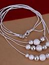 tre rader med flera halsband silver halsband (1st)