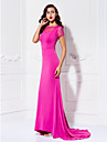 Formal Evening Dress - Fuchsia Plus Sizes / Petite Trumpet/Mermaid Bateau Sweep/Brush Train Jersey