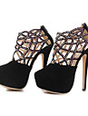 Suede Women\'s Stiletto Heel Round Toe Pumps with Zipper  Shoes