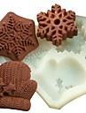 gants de Noel flocon de neige fondant outils gateau au chocolat silicone moule a cake de decoration, l11.7cm * W11cm * h1.7cm