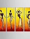 HANDMÅLAD Människor Fyra paneler Kanvas Hang målad oljemålning For Hem-dekoration