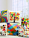 multicolor uppsättning 6 bomull / linne dekorativa örngott